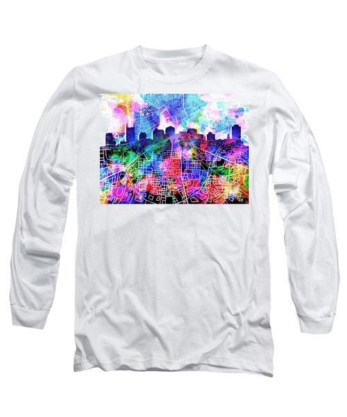 Nashville Skyline Watercolor 5 Long Sleeve T-Shirt by Bekim Art