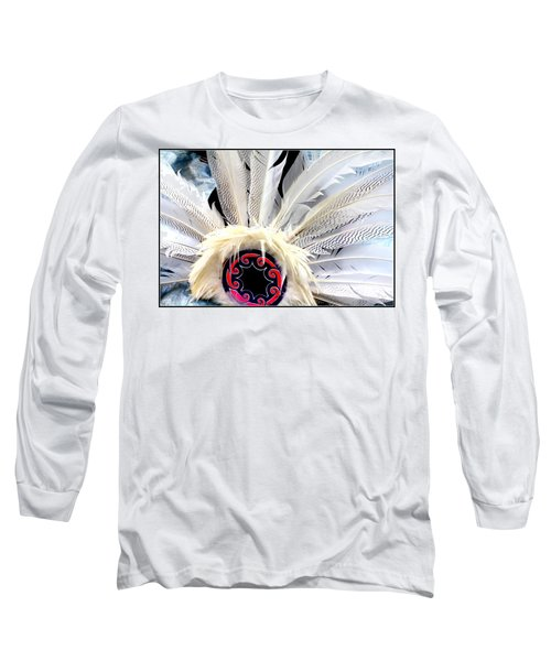 Native American White Feathers Headdress Long Sleeve T-Shirt by Dora Sofia Caputo Photographic Art and Design