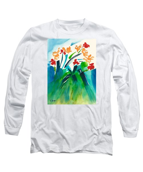 Long Sleeve T-Shirt featuring the painting Natures Bouquet Abstract by Frank Bright