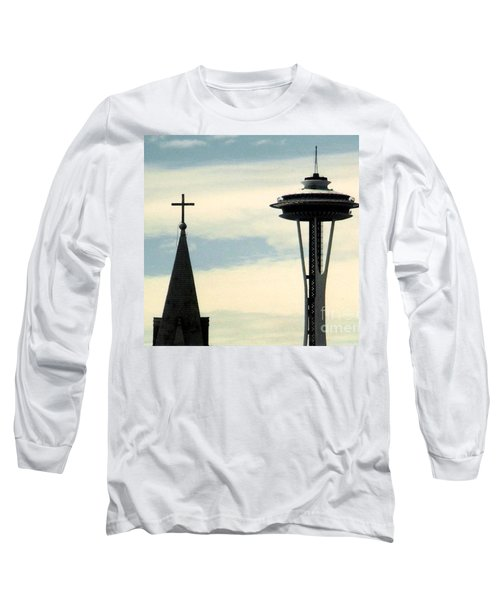 Long Sleeve T-Shirt featuring the photograph Seattle Washington Space  Needle Steeple And Cross by Michael Hoard