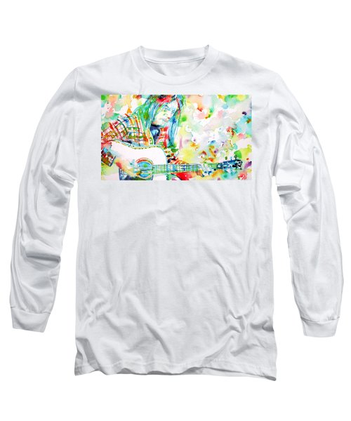 Neil Young Playing The Guitar - Watercolor Portrait.1 Long Sleeve T-Shirt by Fabrizio Cassetta