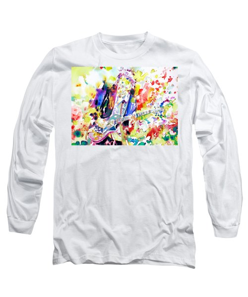 Neil Young Playing The Guitar - Watercolor Portrait.2 Long Sleeve T-Shirt by Fabrizio Cassetta