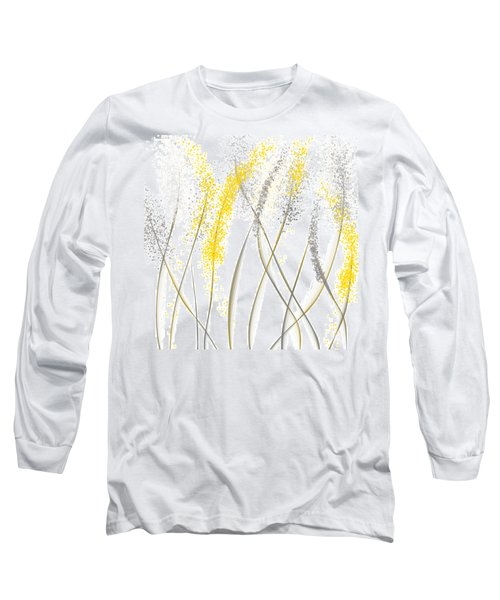 Neutral Sunshine - Yellow And Gray Modern Art Long Sleeve T-Shirt by Lourry Legarde