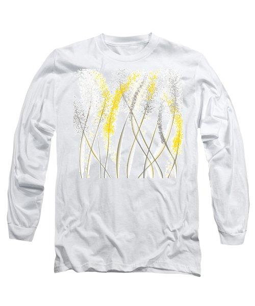 Neutral Sunshine - Yellow And Gray Modern Art Long Sleeve T-Shirt