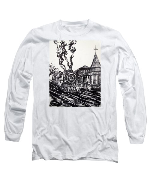 New Hope Train Station Sketch Long Sleeve T-Shirt by Loretta Luglio