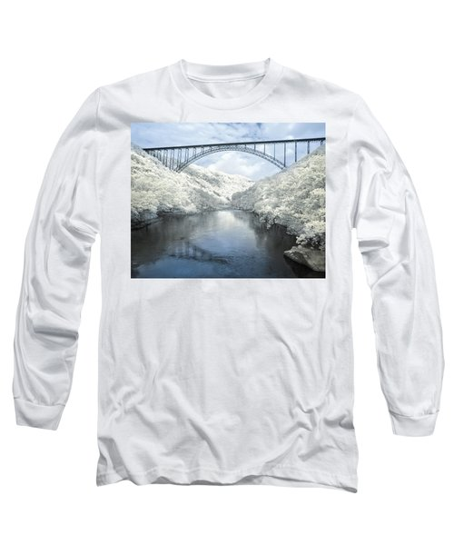 New River Gorge Bridge In Infrared Long Sleeve T-Shirt by Mary Almond