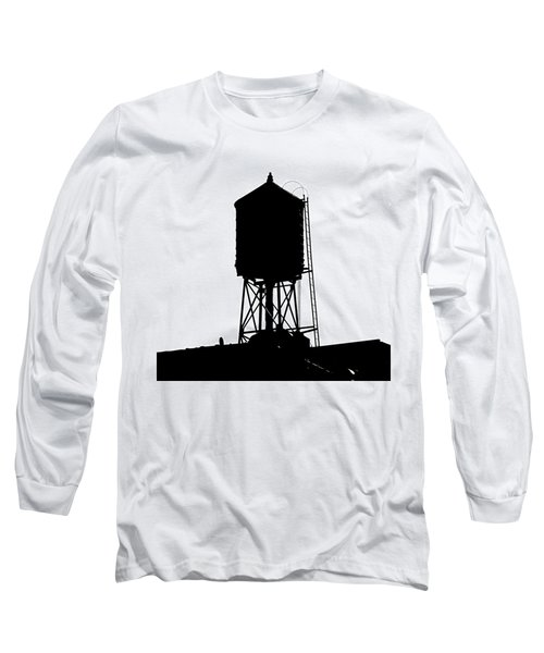 Long Sleeve T-Shirt featuring the photograph New York Water Tower 17 - Silhouette - Urban Icon by Gary Heller