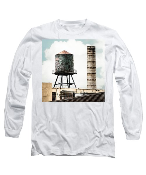 Long Sleeve T-Shirt featuring the photograph Water Tower And Smokestack In Brooklyn New York - New York Water Tower 12 by Gary Heller