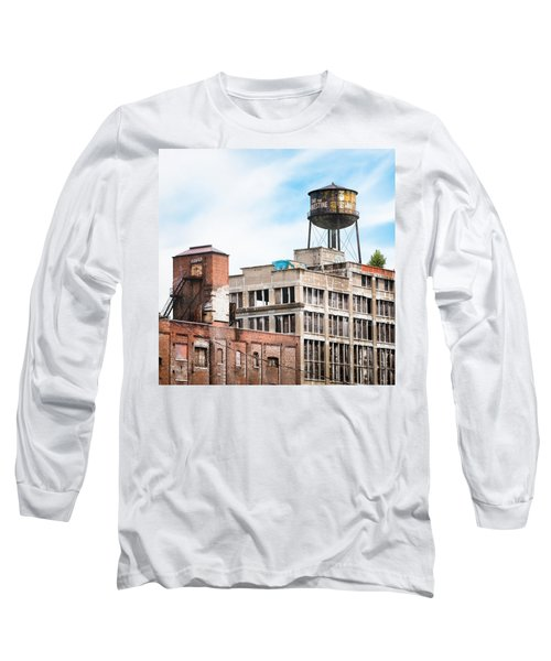 Long Sleeve T-Shirt featuring the photograph New York Water Towers 18 - Greenpoint Water Tower by Gary Heller