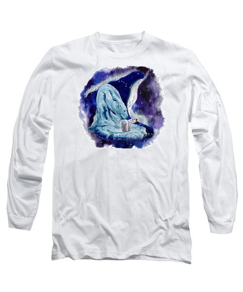 Long Sleeve T-Shirt featuring the painting Night Bear by Sherry Shipley