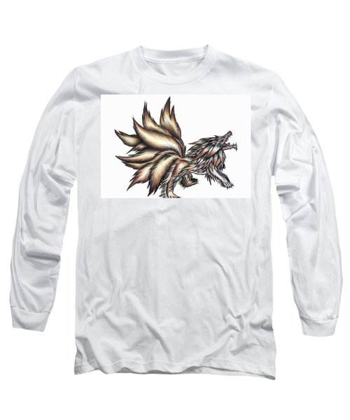Nine Tails Wolf Demon Long Sleeve T-Shirt by Shawn Dall