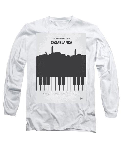 No192 My Casablanca Minimal Movie Poster Long Sleeve T-Shirt by Chungkong Art