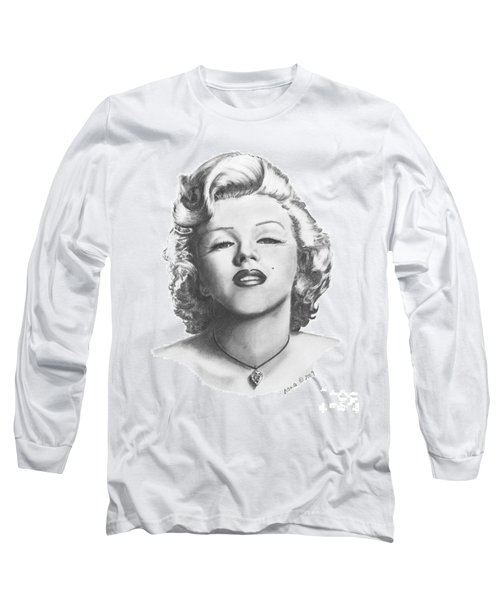 Long Sleeve T-Shirt featuring the drawing Norma Jeane by Marianne NANA Betts