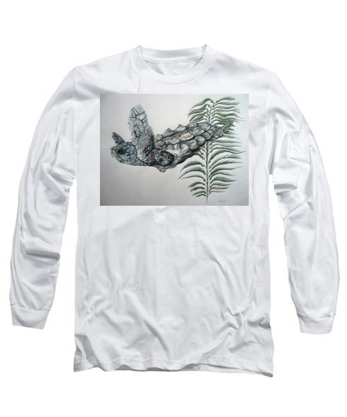 Long Sleeve T-Shirt featuring the drawing Norman Blue by Mayhem Mediums