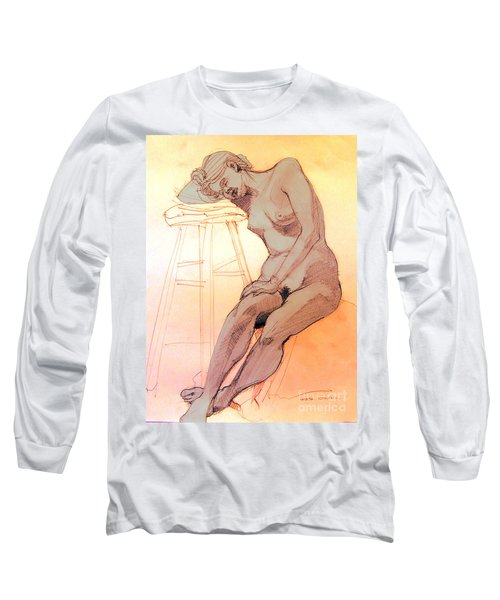 Nude Woman Leaning On A Barstool Long Sleeve T-Shirt