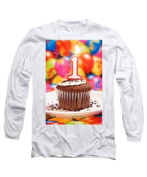 Long Sleeve T-Shirt featuring the photograph Chocolate Cupcake With One Burning Candle by Vizual Studio