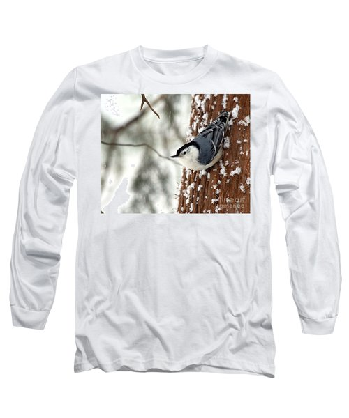 Nuthatch In Snow Storm Long Sleeve T-Shirt by Paula Guttilla
