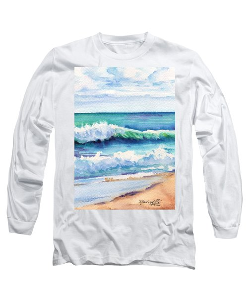 Long Sleeve T-Shirt featuring the painting Ocean Waves Of Kauai I by Marionette Taboniar
