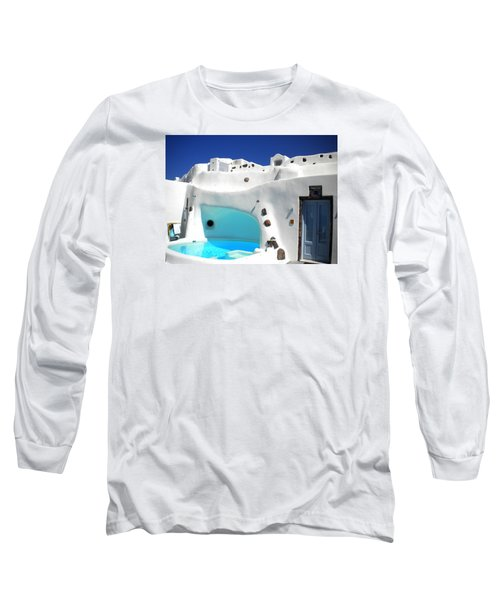 Oia Santorini  With Direct View To The Oceon Greece Long Sleeve T-Shirt by Colette V Hera  Guggenheim
