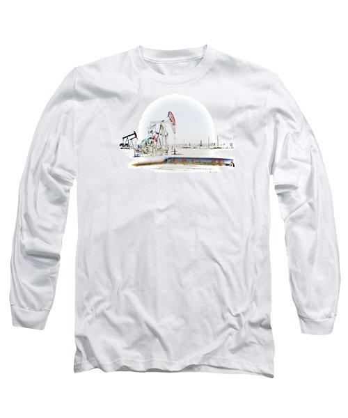 Oil Field Long Sleeve T-Shirt by Joel Loftus