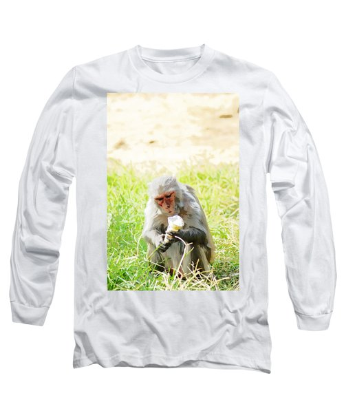 Oil Painting - A Monkey Eating An Ice Cream Long Sleeve T-Shirt