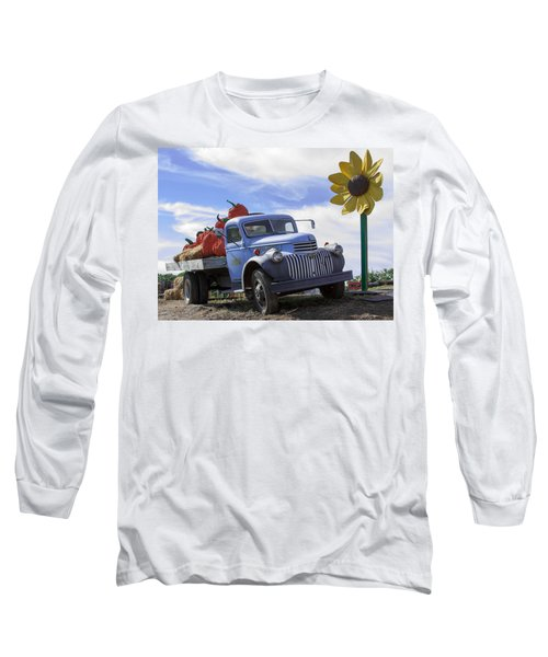 Long Sleeve T-Shirt featuring the photograph Old Blue Farm Truck  by Patrice Zinck