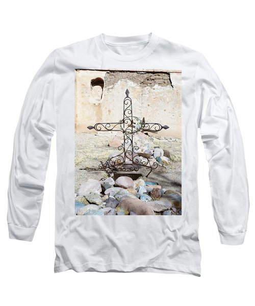 Long Sleeve T-Shirt featuring the photograph Old Gravestone Marker by Kerri Mortenson