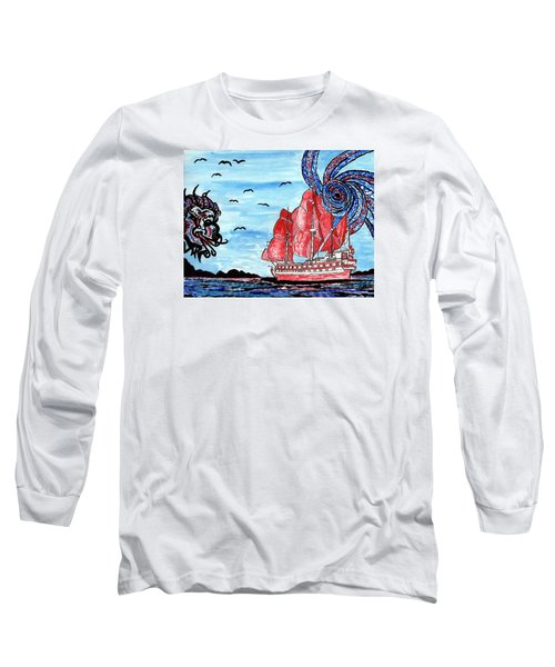 Long Sleeve T-Shirt featuring the painting Old Man And The Sea by Connie Valasco