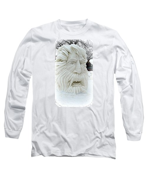 Old Man Winter Snow Sculpture Long Sleeve T-Shirt by Kay Novy