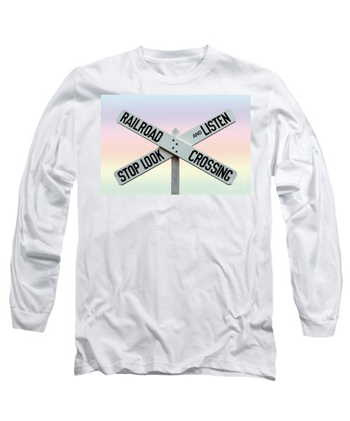Old Railroad Crossing Sign Long Sleeve T-Shirt