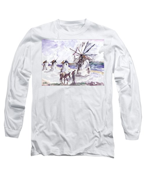 Long Sleeve T-Shirt featuring the painting Old Windmills At Bodrum by Faruk Koksal