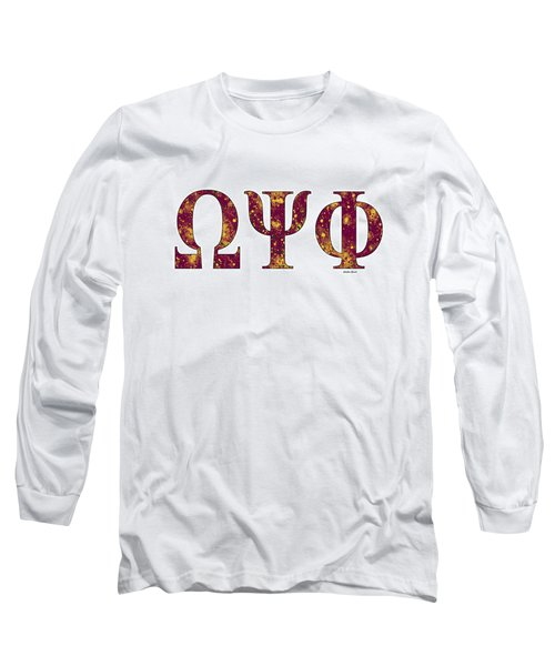 Long Sleeve T-Shirt featuring the digital art Omega Psi Phi - White by Stephen Younts