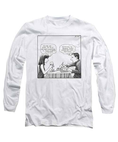 On A Date, A Woman Compliments The Man's Long Sleeve T-Shirt