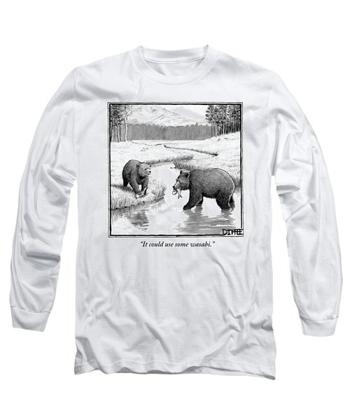 One Bear Speaks To Another As They Catch Fish Long Sleeve T-Shirt