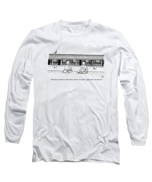 One Buddhist Monk Asks Another While Meditating Long Sleeve T-Shirt
