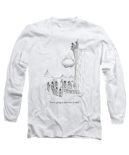 One Caveman To Another As They Watch A Boulder Long Sleeve T-Shirt