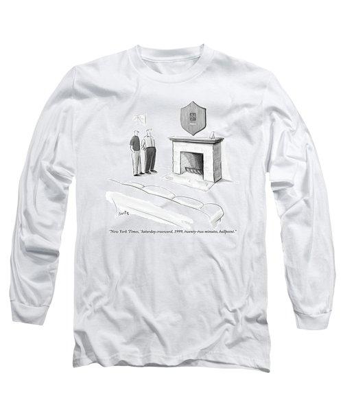 One Man Shows Off A Framed Crossword Long Sleeve T-Shirt
