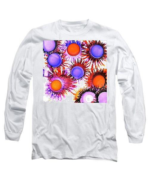 Orange And Purple Alcohol Inks Abstract Long Sleeve T-Shirt by Danielle  Parent