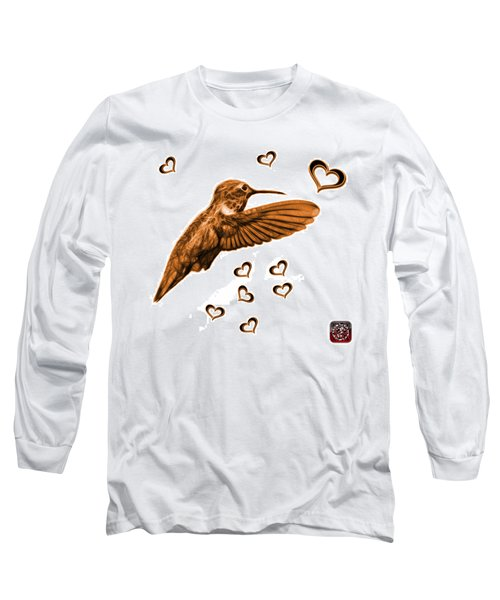 Long Sleeve T-Shirt featuring the digital art Orange Hummingbird - 2055 F S M by James Ahn