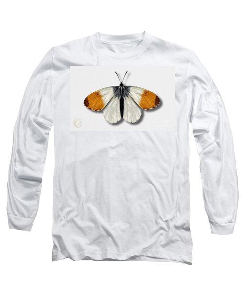 Orange Tip Butterfly - Anthocharis Cardamines Naturalistic Painting - Nettersheim Eifel Long Sleeve T-Shirt
