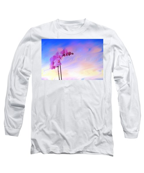 Orchid In Blue Long Sleeve T-Shirt