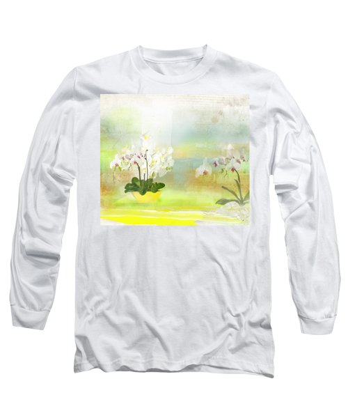 Orchids - Limited Edition 1 Of 10 Long Sleeve T-Shirt by Gabriela Delgado