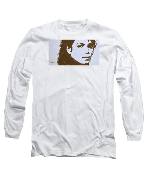original black an white acrylic paint art- portrait of Michael Jackson#16-2-4-12 Long Sleeve T-Shirt by Hongtao     Huang