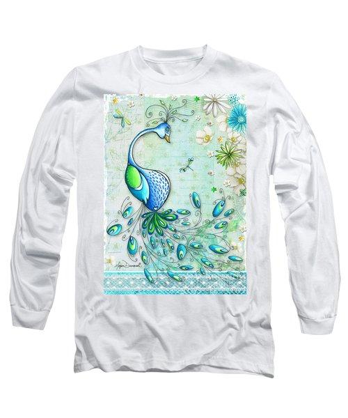 Original Peacock Painting Bird Art By Megan Duncanson Long Sleeve T-Shirt