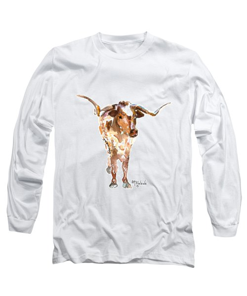 Original Longhorn Standing Earth Quack Watercolor Painting By Kmcelwaine Long Sleeve T-Shirt by Kathleen McElwaine