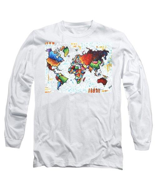Original Vibrant Colorful World Map Pop Art Style Painting By Megan Duncanson Long Sleeve T-Shirt