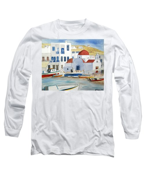 Watercolor - Mykonos Greece Detail Long Sleeve T-Shirt