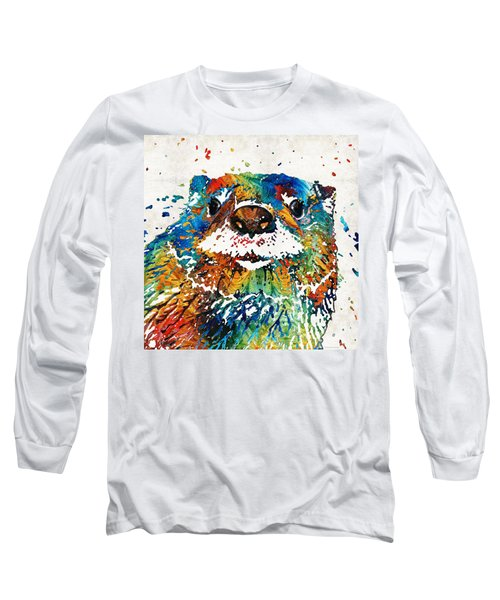Otter Art - Ottertude - By Sharon Cummings Long Sleeve T-Shirt by Sharon Cummings