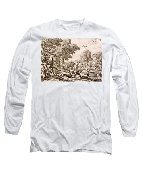 Otter Hunting By A River, Engraved Long Sleeve T-Shirt by Francis Barlow