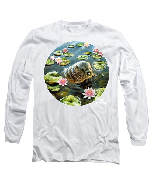 Otter In Water Lilies Long Sleeve T-Shirt